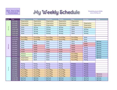schedule excel templates getting things done gtd a weekly schedule system