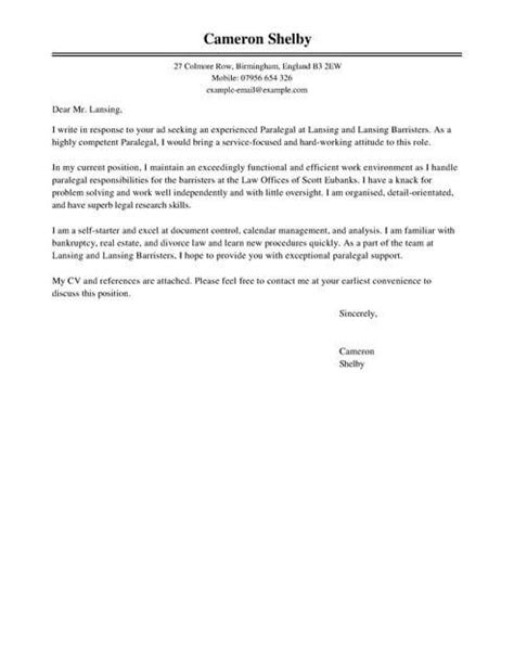 paralegal cover letter examples legal livecareer