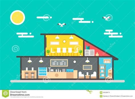 Coffee Shop Flat Design | flat design of coffee shop interior stock vector image
