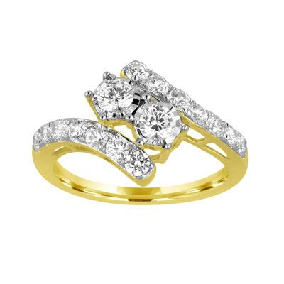 two forever 1 ct t w 10k yellow gold engagement