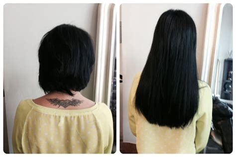 hair fusion applied to short hair before and after hair extensions for short hair applied by areta yelp