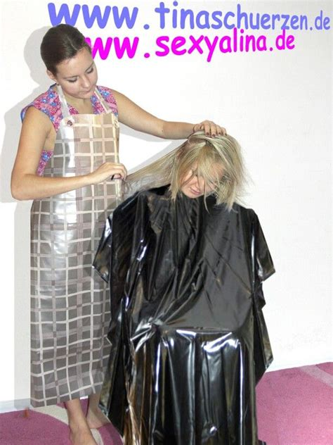 females in pvc getting haircuts 69 best me in pvc heavy salon capes images on pinterest