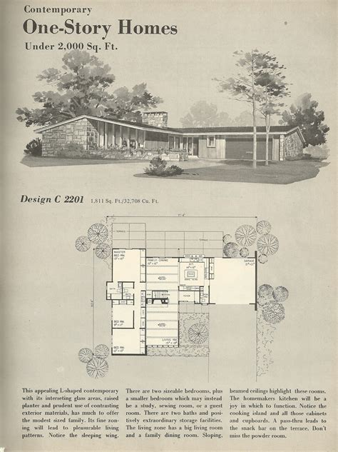 mid century modern floor plans plan house wooden bench diy vintage house plans 2201 antique alter ego