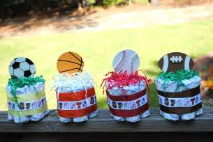 sports baby shower centerpieces set of four small one layer sports theme by atkinsoncreations