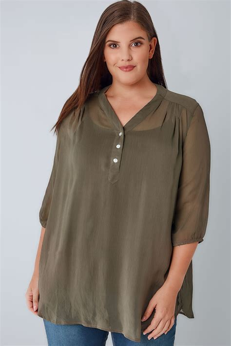 Chiffon Button Blouse by Khaki Sheer Chiffon Button Up Blouse With 3 4 Length