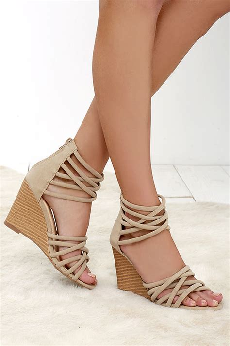 chagne colored wedges heels caged heels vegan suede heels 36 00