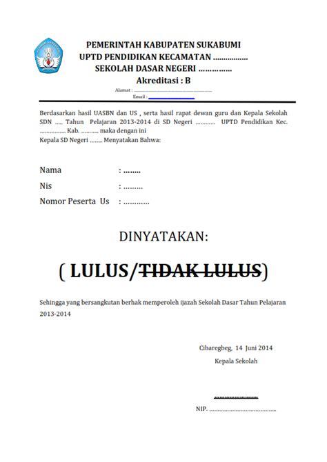 contoh format surat kelulusan sekolah dasar dapodikblog