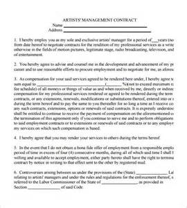 business management contract template 5 artist management contract templates free pdf word