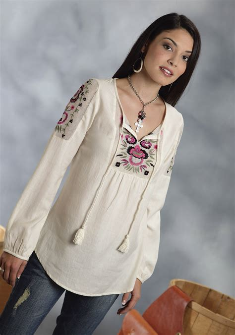 Kemeja Wanita White Floral Embroidered Shirt Size M 421362 roper 174 s white cotton floral embroidered sleeve western peasant top