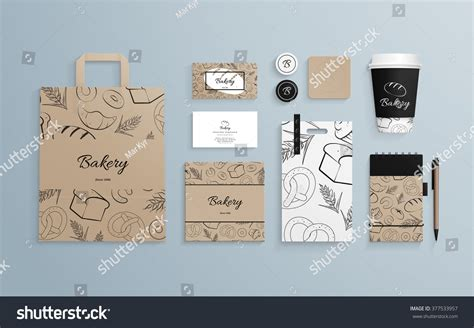 template mockup card set corporate identity template set pattern baked stock vector