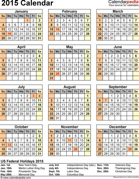 Calendar With Holidays 2015 2015 Us Calendar With Holidays New Calendar Template Site