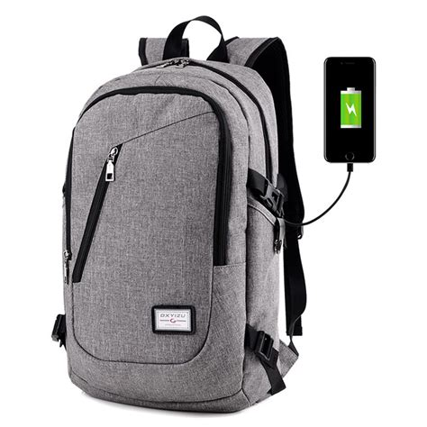 Mairu 0219 Smart Backpack Usb Port Charger Free Powerbank Grey Smart Backpack With A Usb Shoulder Bag S 14 Inch