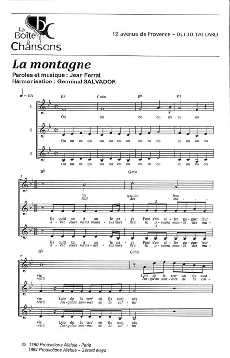 Partition piano gilbert montagne on va s aimer
