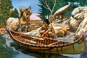 Iroquois males working on a algonkian canoe