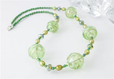 green bead necklace green hollow bead necklace by ciel creations