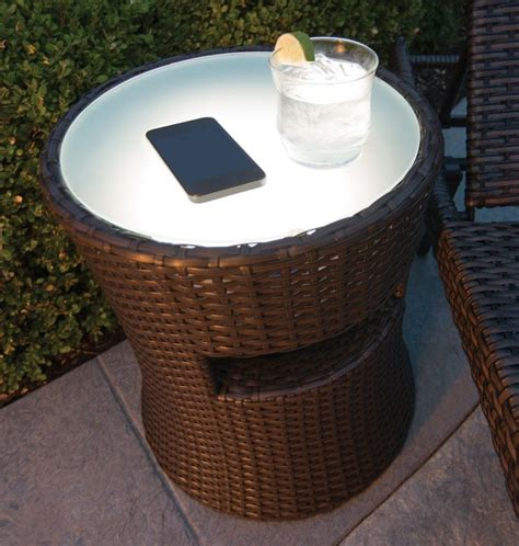 outdoor patio side table with outdoor speaker built in and