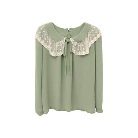 Lace Collar Chiffon Blouse lace collar green chiffon blouse 27 liked on polyvore