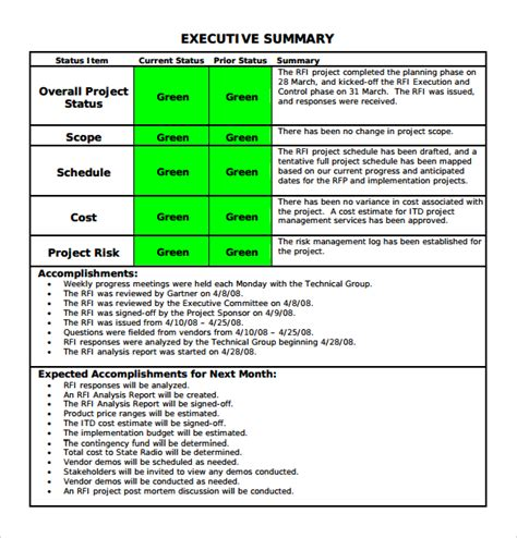 executive summary project status report template 14 sle project status reports pdf word pages
