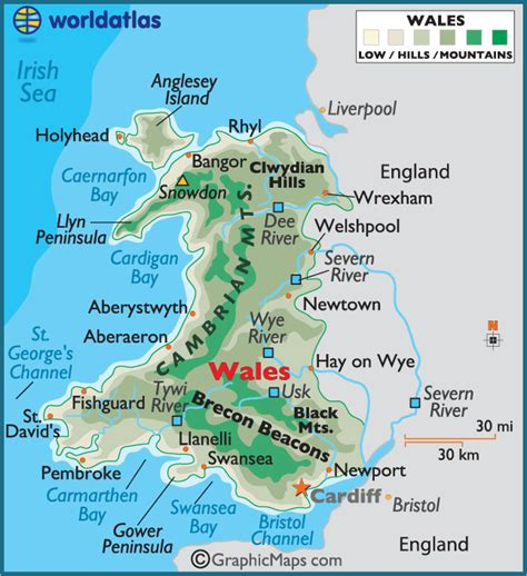 map of wales wales large color map