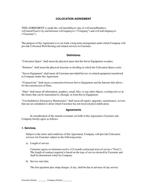Hosting Contract Template Free Printable Documents Hosting Agreement Template