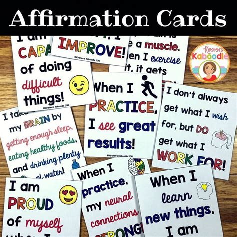 Task Cards Template For Affirmations by Growth Mindset Affirmations Growth Mindset And Mindset