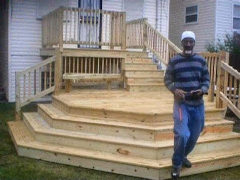 Two Tier Octagon Deck with Cascading Staircase   YouTube
