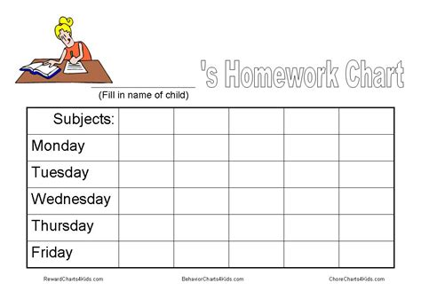 printable homework schedule homework chart and other tools to get homework done