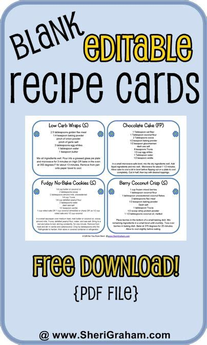 Editable Recipe Card Template by Blank Editable Recipe Cards 1 2 4 Card Versions Free