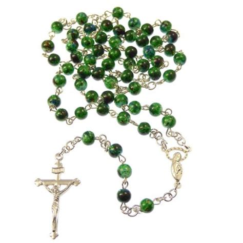 marble rosary green marble style 6mm rosary necklace