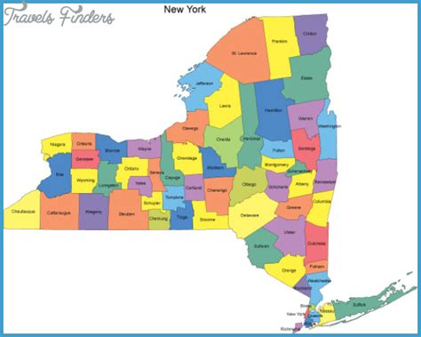 state of ny map with cities new york map of counties travelsfinders