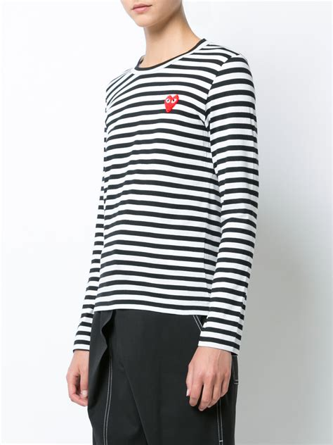 Striped Sleeved T Shirt shop comme des gar 231 ons play striped sleeved t shirt