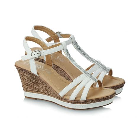 wedge sandals womens white diamante strappy wedge sandals