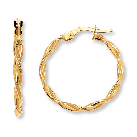 twisted hoop earrings 14k yellow gold 20mm