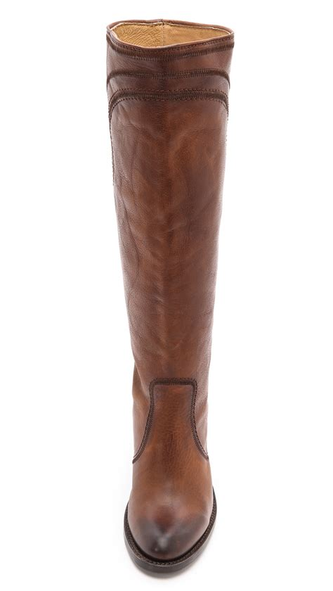 frye mustang boots lyst frye mustang stitch boots cognac in brown