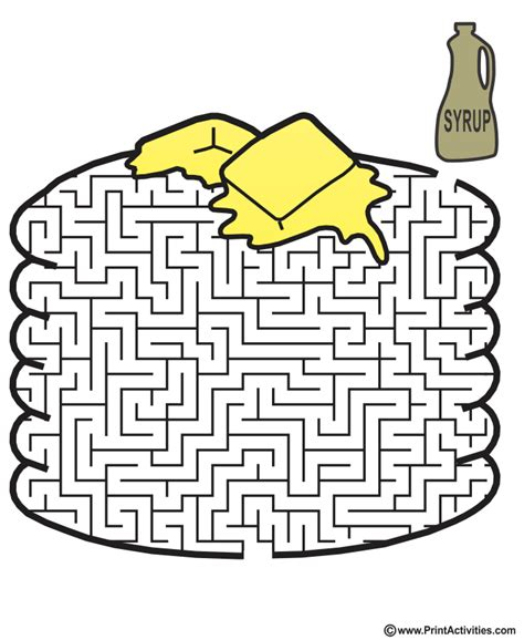 printable mazes shapes pancakes maze shaped like a stack of pancakes