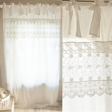 tende cotone tenda in cotone colore bianco con fascia in pizzo