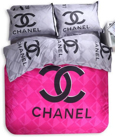 chanel grey pink bedding set
