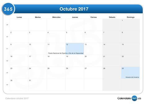 Calendario Lunar Octubre 2017 España Calendario Octubre 2017