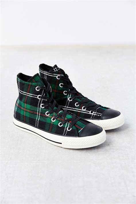 converse chuck all high top sneaker womens lyst converse chuck all green tartan high