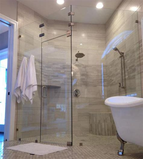 Custom Shower Glass Doors Frameless Custom 3 8 Inch Neo Angle Shower Door In Cardinal Shower Smoke Tinted Glass Bathrooms