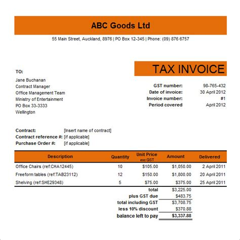 excel tax invoice template 10 tax invoice templates free documents in