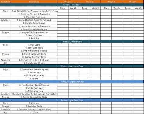 daily workout schedule template plannings and schedules