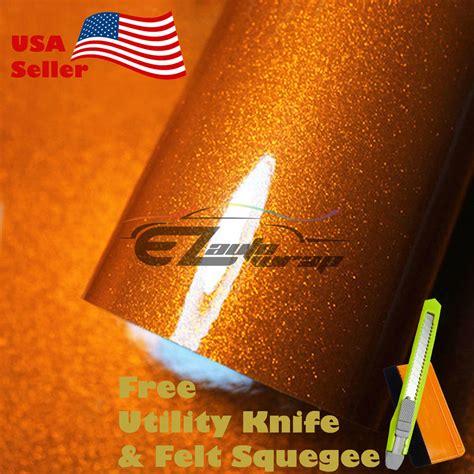 Sticker Fullbody Glitter Metalik Air gloss glitter orange metallic sparkle vinyl car wrap
