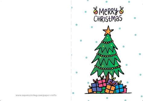 Merry Christmas Card With Presents And Christmas Tree Template Free Printable Papercraft Templates Merry Card Templates