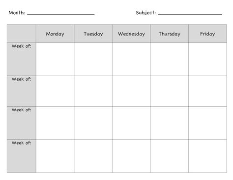 Monthly Lesson Plan Template Pinteres Monthly Lesson Plan Template