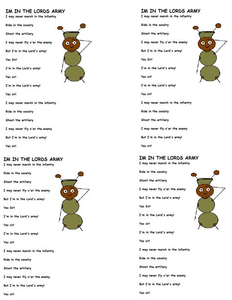 Im In The Lords Army Lyrics Lyric Template