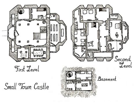 4 Bedroom Floor Plans With Basement by Small Town Castle Map Elven Tower