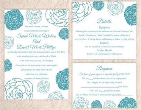 diy wedding invitation template set editable word file