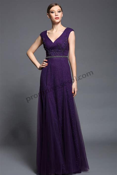 prom dresses purple v neck tulle formal
