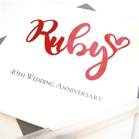 Ruby Wedding Anniversary Card And by Ruby 40th Wedding Anniversary Card By The Hummingbird Card